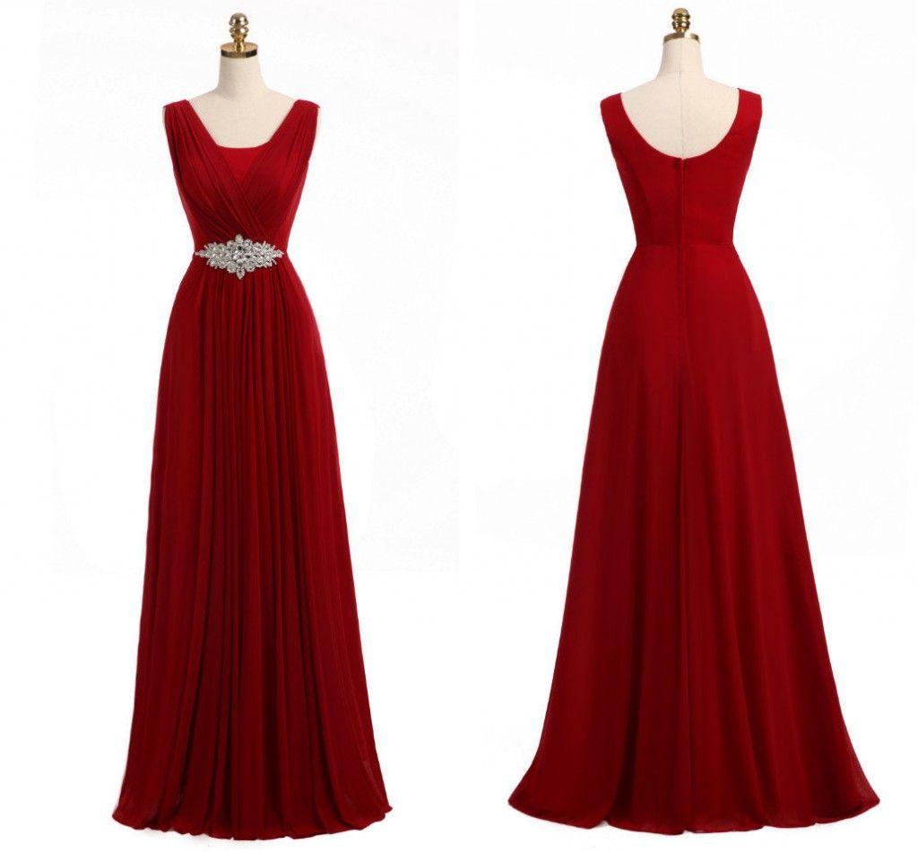 Cheap Red Bridesmaid Dresses A Line Sleeveless Crystal Belt Floor ...