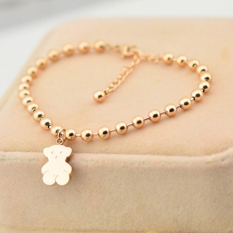 Fashion 18K Gold Little Bear Stainless Steel Beads Chain Bracelet Titanium Steel Raccoon Charms Rose Gold Silver Bracelet for Women Men
