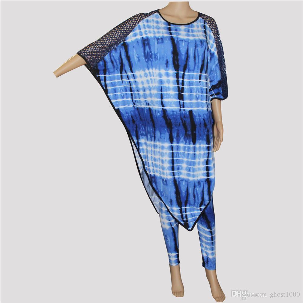 Tilapia afrikanische Ankara Stil Mode Fledermaus Frauen Set große Größe super Stretch Mama Kleid Set Bazin Riche zwei Stücke Frauen Set