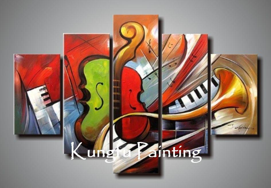 5-1008 100% Hand painted good quality decorative wall art abstract painting music 5 panel canvas art