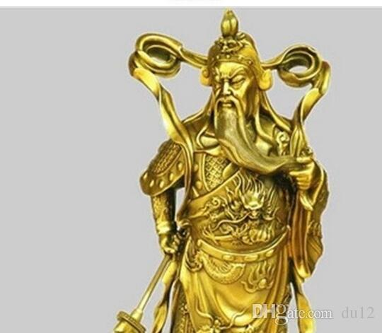 brass A copper Guan Gong knife body ornaments robes Fortuna Wu Guan statue office lucky decorations