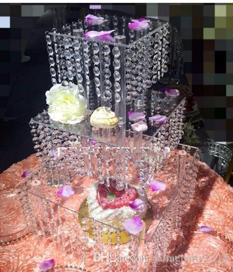 2017 Ano Novo de Cristal De Acrílico Bolo De Casamento Suporte De Mesa De Sobremesa Bolo Rack de Mesa Do Casamento Cupcake Stand 3 camada squre