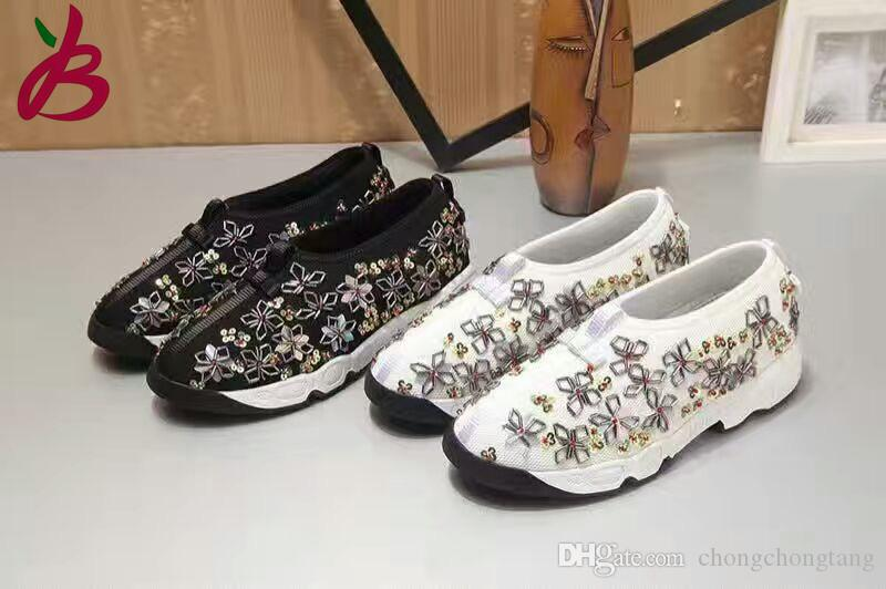 be4d225dd2 New arrival crystal flower casual shoes fashion woman's loafers girl's chic  Espadrilles air mesh travel shoes EU35-40 size