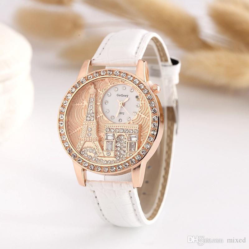 Gogoey1982 Эйфелева башня изысканный Алмаз часы Часы PU Кожаный ремешок Eholesale рельеф