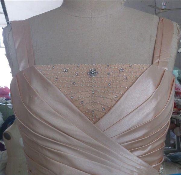 Imagen real Vestidos de madre de la novia con chaquetas Cuentas Cristales Camisa acanalada acanalada Vestidos formales de madre Vestido de invitado de boda modesto