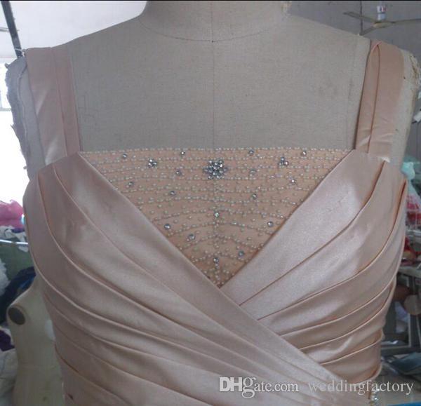 Real Image Mutter der Braut Kleider mit Jacken Perlen Kristalle Geraffte Scheide Spalte Mutters formelle Kleider Bescheidenes Hochzeitsgastkleid