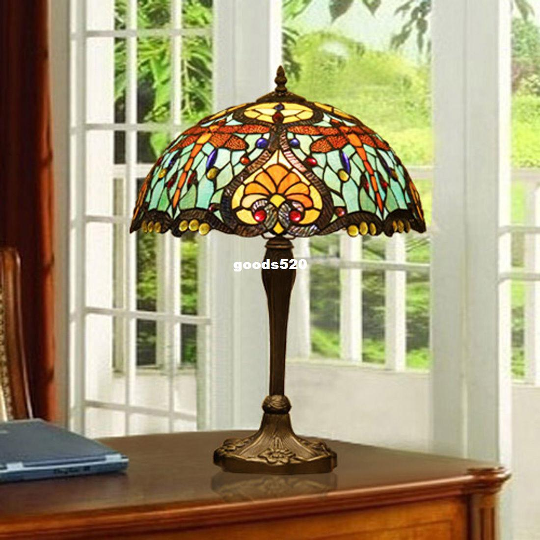 Vitrail Vintage Libellule Clair De Grande Bleu Makenier Style Table Lampe En Tiffany XOkiPZuT