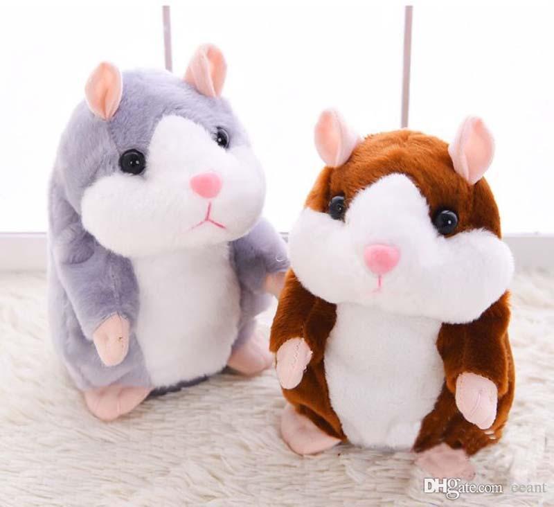 Toys & Hobbies Stuffed Animals & Plush 15cm Lovely Electric Talking Hamster Plush Toys Sound Recording Repeat Speak Children Christmas Birthday Toy Gift Dropshipping