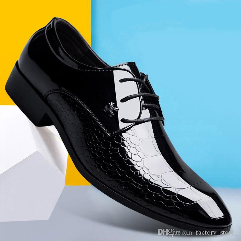 8014acdd5e94 Mens Pointed Toe Dress Shoes Luxury Brand Designer Italian Patent Leather  Man Prom Dress Shoes 2019 Crocodile Skin Shoes Black Womens Shoes Cheap  Shoes From ...