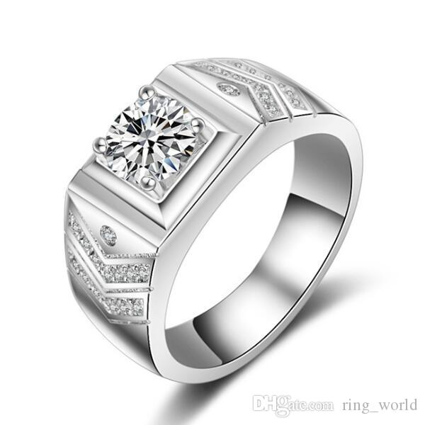 2019 New Design Jewelry Men Ring Aaaaa Zircon Simulated Diamond 10kt