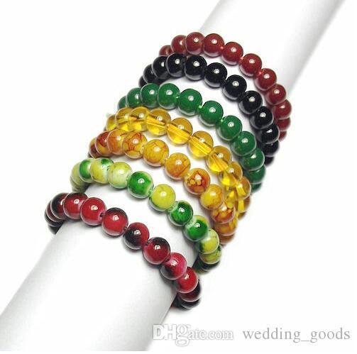 Gute A ++ -Glasperlen, Perlen Perlen Armband, Nachahmung Stein, Nachahmung Achat, Handschnur FB034 Mischungsauftrag 20 Stück viel Perlen, Stränge