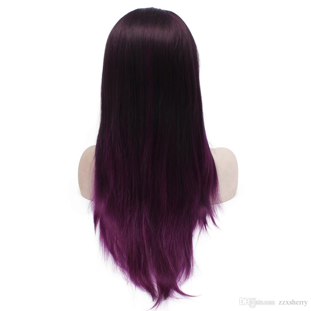 """24"""" Long Two Tone Ombre Brown Purple Silky Straight Half Hand Tied Heat Resistant Synthetic Fiber Lace Front Fashion Wig S02"""