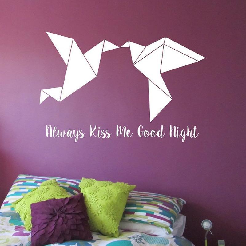 e9e1543628 Origami Kissing Love Birds Vinyl Wall Decal Sticker Art Decor Bedroom Home  Design Mural Geometric Birds Wall Sticker Buy Decals Buy Wall Decal From  Xymy757, ...