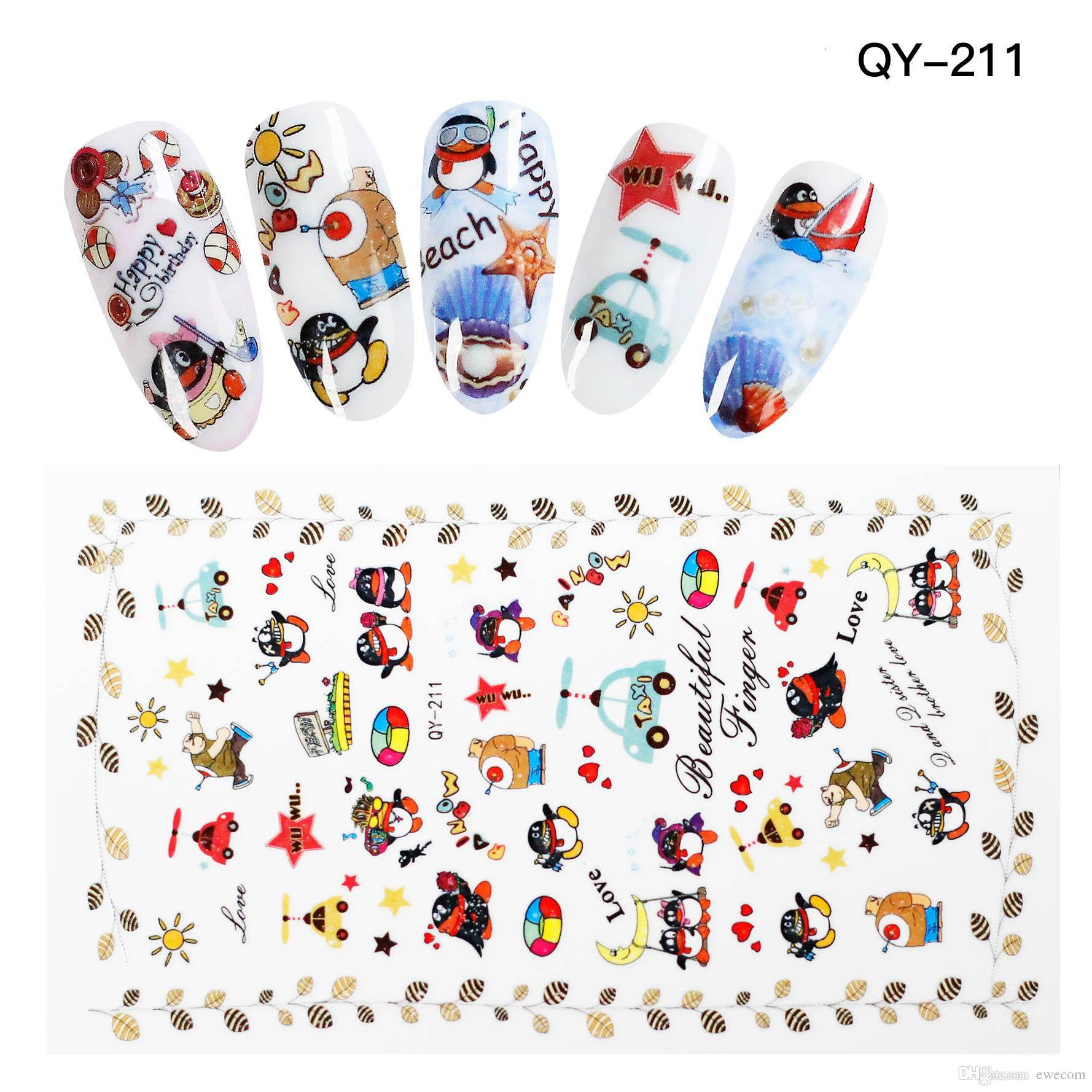 High Quality Cute Cartoon Qq Penguin Nail Art Stickers Decals Nail ...