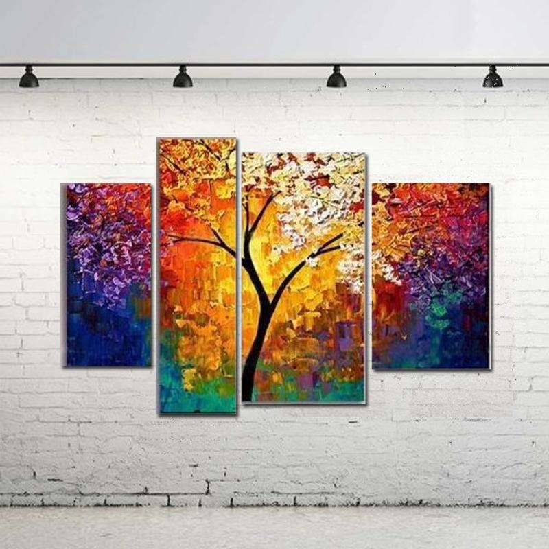 handpainted oil painting for living room wall palette knife art large canvas art cheap multi panel abstract pictures painting wholesale art painting ideas - Wholesale Art Frames