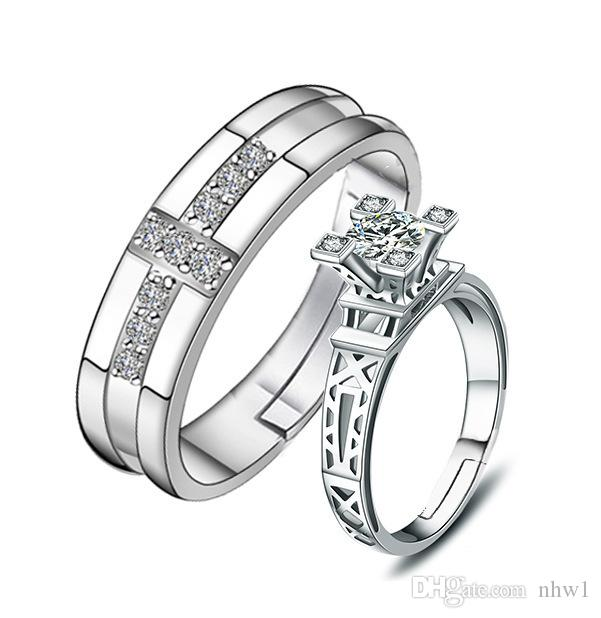 Fashion Silver Plated Couple Rings For Women bijoux New Crystal Wedding Jewelry anel masculino Couple Rings Gifts