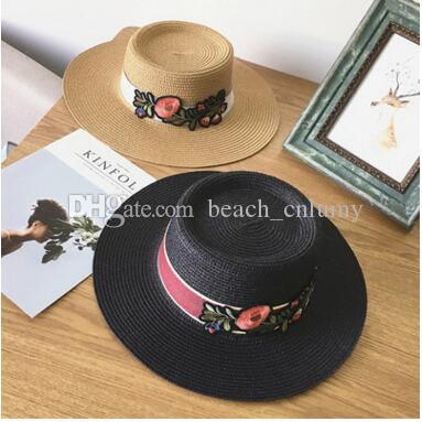 262fc5e7b11 Fashion Wide Brim Summer Beach Sun Hats for Women Flowers Embroidery ...