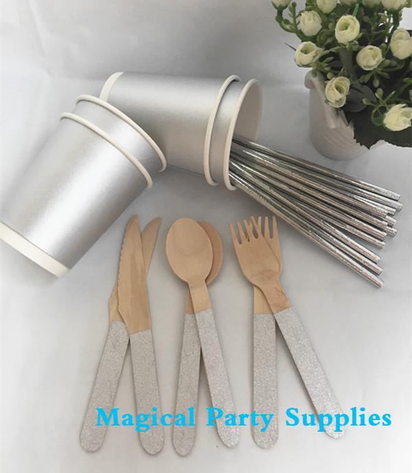 Wholesale- Silver Foil Disposable Tableware 24 People Paper Coffee Cup Birthday Party Paper Straw Christmas Glitter Wooden Fork Spoon Knife & Wholesale- Silver Foil Disposable Tableware 24 People Paper Coffee ...