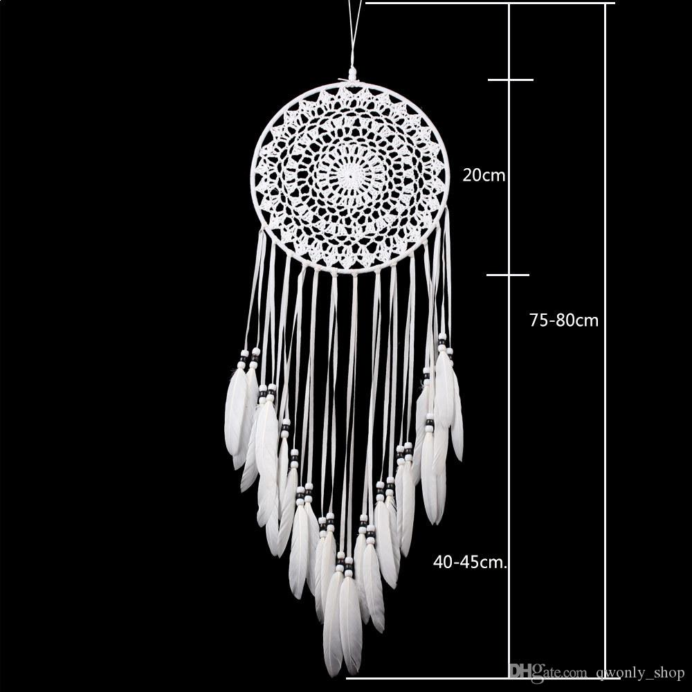 Handmade Lace Dream Catcher Circular With Feathers Hanging Decoration Ornament Craft Gift Crocheted White Dreamcatcher Wind Chimes