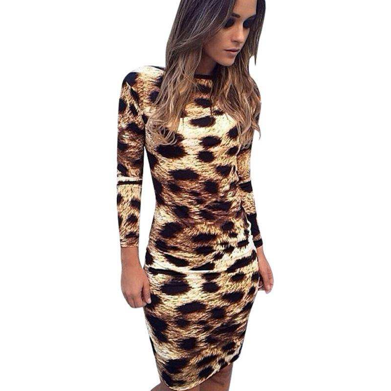 2018 Wholesale Sexy Women Backless Leopard Print Long Sleeve Dress ...