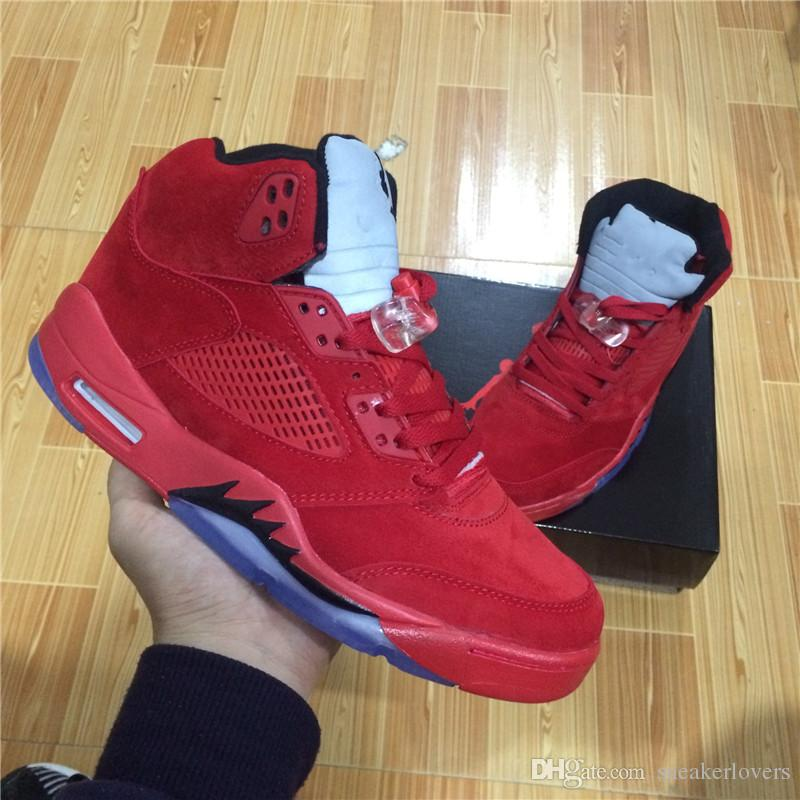 With Box New Retro 5 V Raging Bull Red Suede Men ...