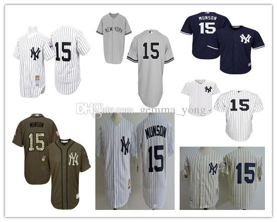 sale retailer b3152 b52b9 reduced new york yankees 15 thurman munson 1969 white ...