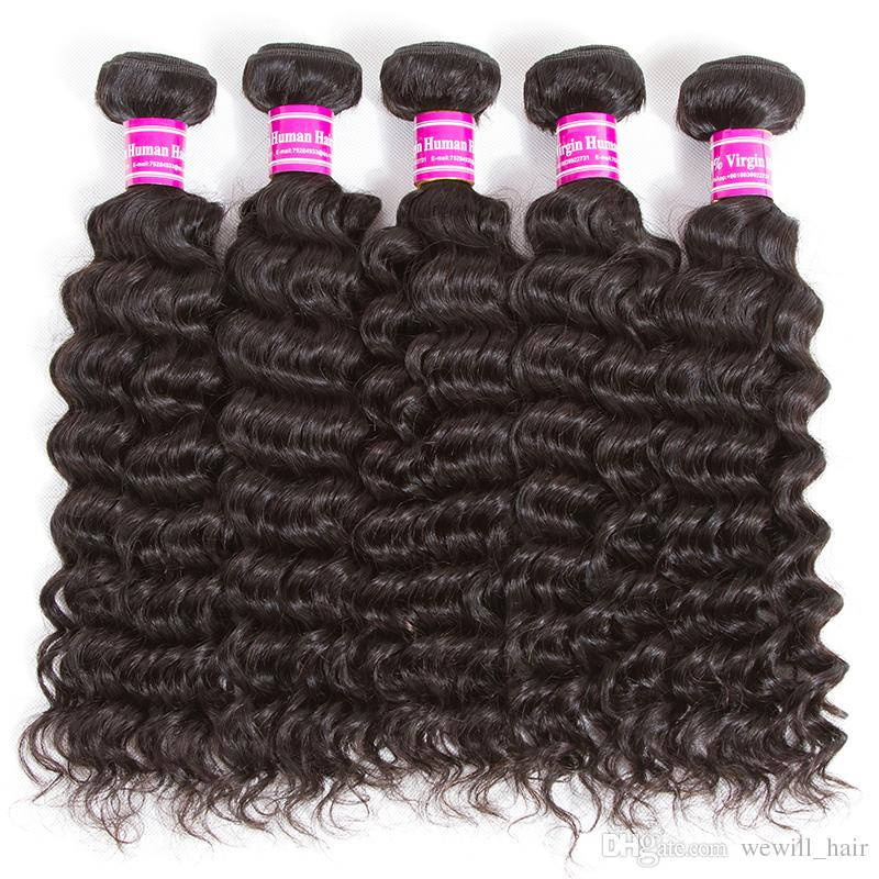 Brésilienne Vierge de Cheveux Humains Bundles Vague de Corps Vague Profonde Crépus Bouclés Pas Cher Remy Extensions de Cheveux Humains Non Transformés Vierge Cheveux Offres Bundle