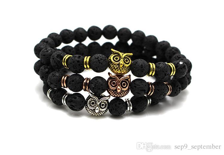 Natürliche Lava Rock Perlen Charms Armbänder Eule 3 Farben Anti-Müdigkeit vulkanischen Rock Charme Armbänder MenWomen Perlen Armbänder