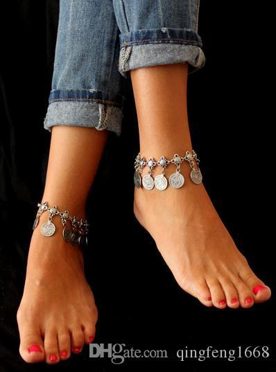 Bracelets de cheville en métal de style rétro avec des bijoux européens et américains