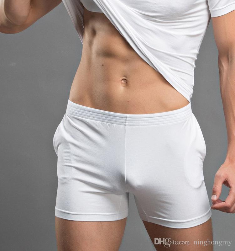 Men's home shorts Wholesale New Cotton Solid Men Boxer Brand Shorts Homewear Sleepwear Fashion Underwear Solid Color Pouch Gay Bodysuit