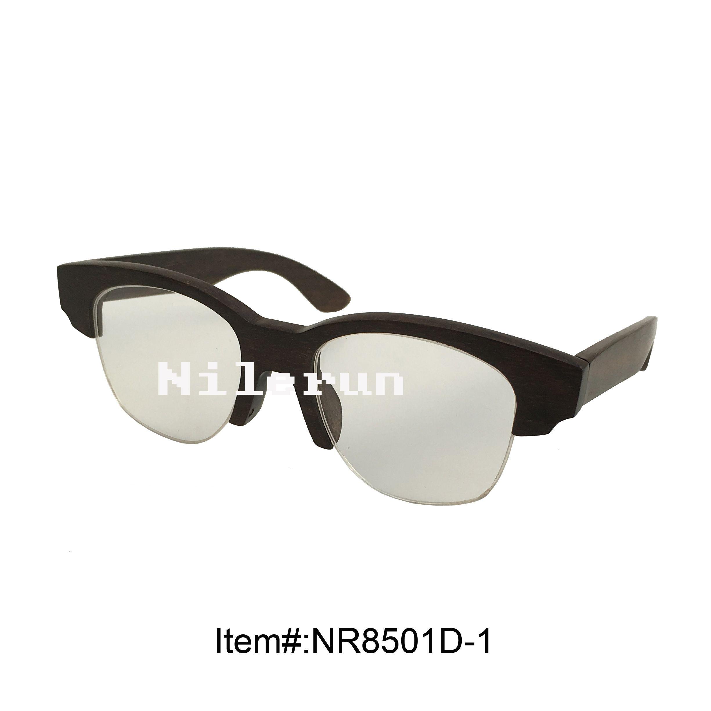 Ebony Wood Half Frame Optical Eyewear Glasses Lei Eyeglass Frames ...