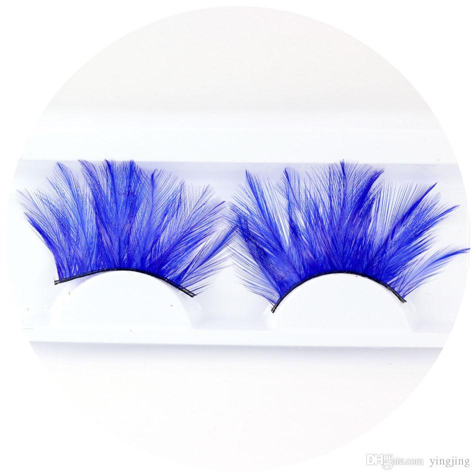 New Fashion 6 Style Halloween Makeup Blue Feather False Eyelashes Beautiful Point Mascara Pair Set Tools