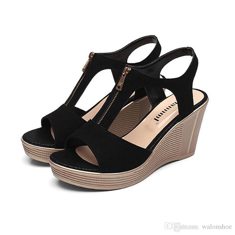 0ceb233276cf4 2017 Summer Women Sandals Waterproof Platform New Leather High ...
