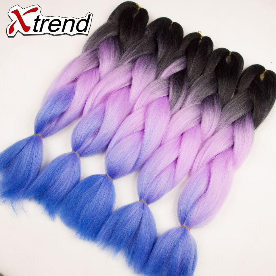 24 100g Xtrend Multi Colored Hair Extensions Synthetic Braiding Hair