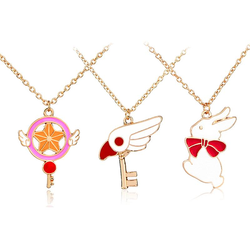 Trendy Cute Star Stick Magic Wand Bird Head Rabbit Pendant Necklace For Girls Cosplay Fashion Japanese Animation Jewelry