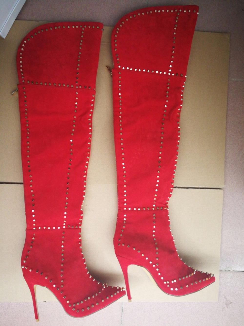 Sexy High Heels Winterschuhe Schwarz Burgund Spitz Frauen Stiletto Overknee Stiefel Metallic Nieten Beschlagene Oberschenkel Hohe Stiefel Zapatos