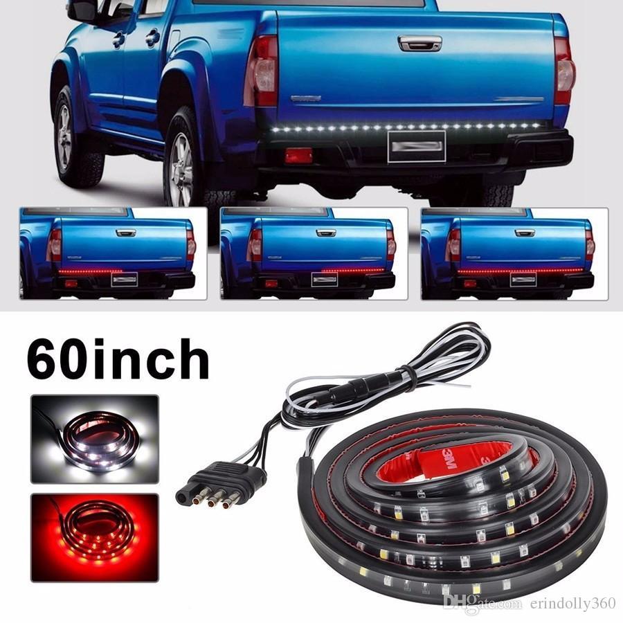 Impermeabile 60 pollici rosso / bianco LED Strip Light Bar camion retromarcia freno segnale di coda Ford GMC Chevy Dodge Toyota Nissan confezione da 2