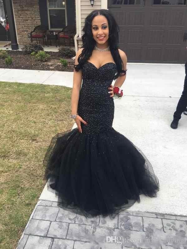 Dark Navy Mermaid Prom Dresses 2019 Stunning Beaded Sweetheart Corset Back Black Girls Pageant Evening Gowns with Puffy Train Plus Size
