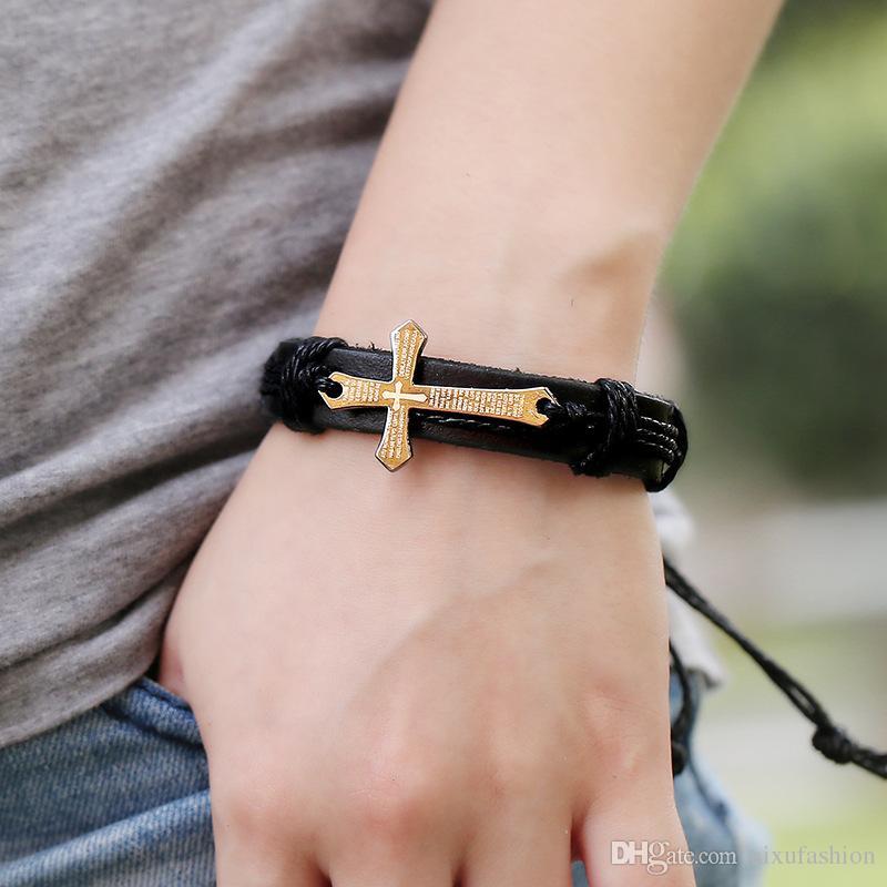 Cross Bible Charm Urbano Hombres Pulsera Hecho a mano Muñeca de cuero genuino Pulsera Retro Joyería religiosa para hombres Mujeres Pulseras