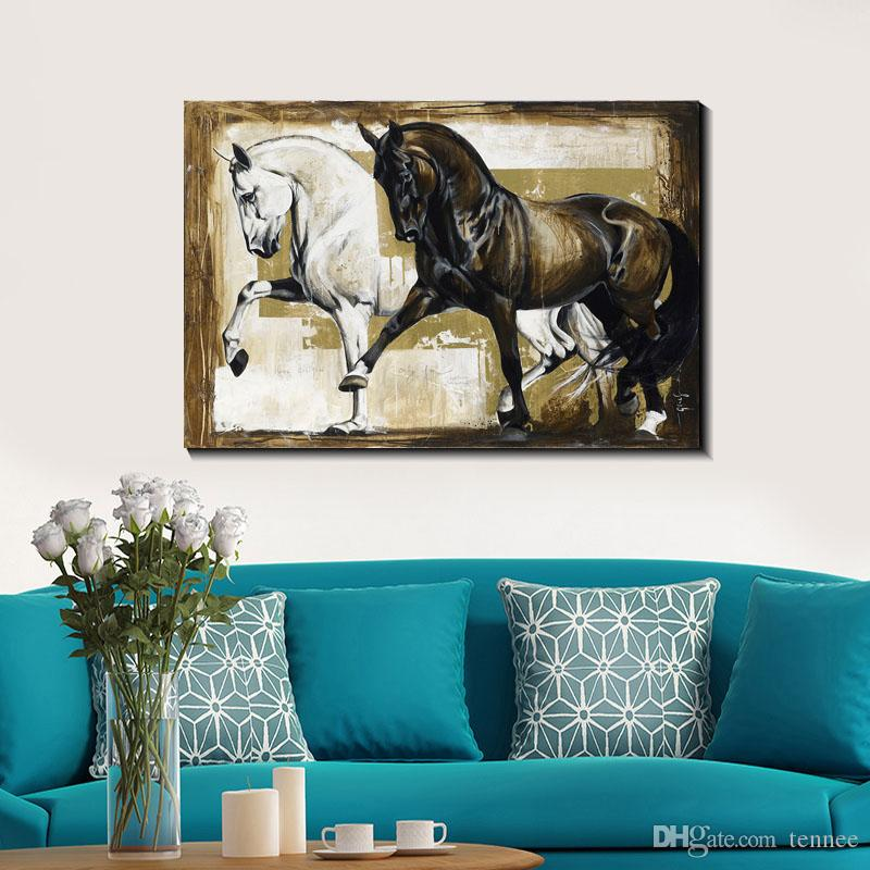 Black and white Elegant Horse Oil painting Print on Canvas Wall Art Decor Modern European Canvas Poster Pictures for Living Room