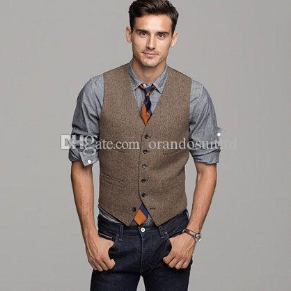 2017 2017 Brown Wool Herringbone Tweed Vest Mens Suit Vests Slim ...