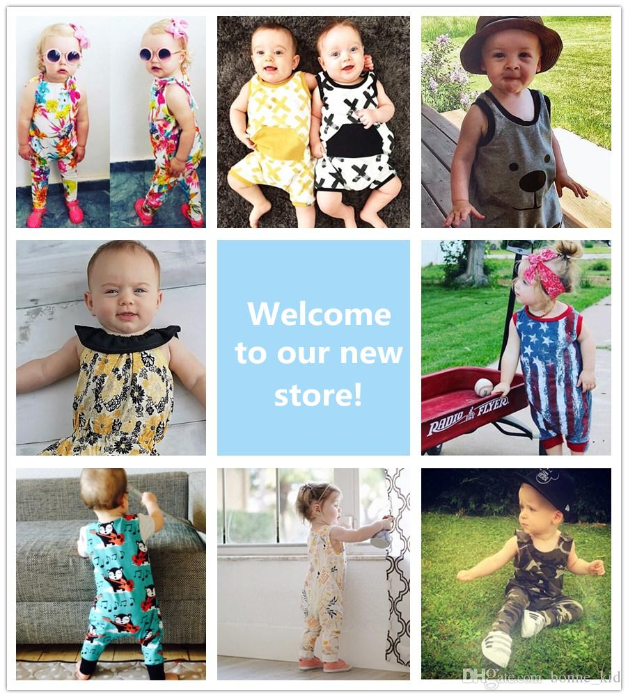 d1054175fb92 2019 9 Style Summer Baby Jumpsuit Kid Clothing Camo Bear X Flower Flag Ins Pajamas  Romper Suspender Trousers Pants Cotton Boy Girl Outfit 0 24M From ...