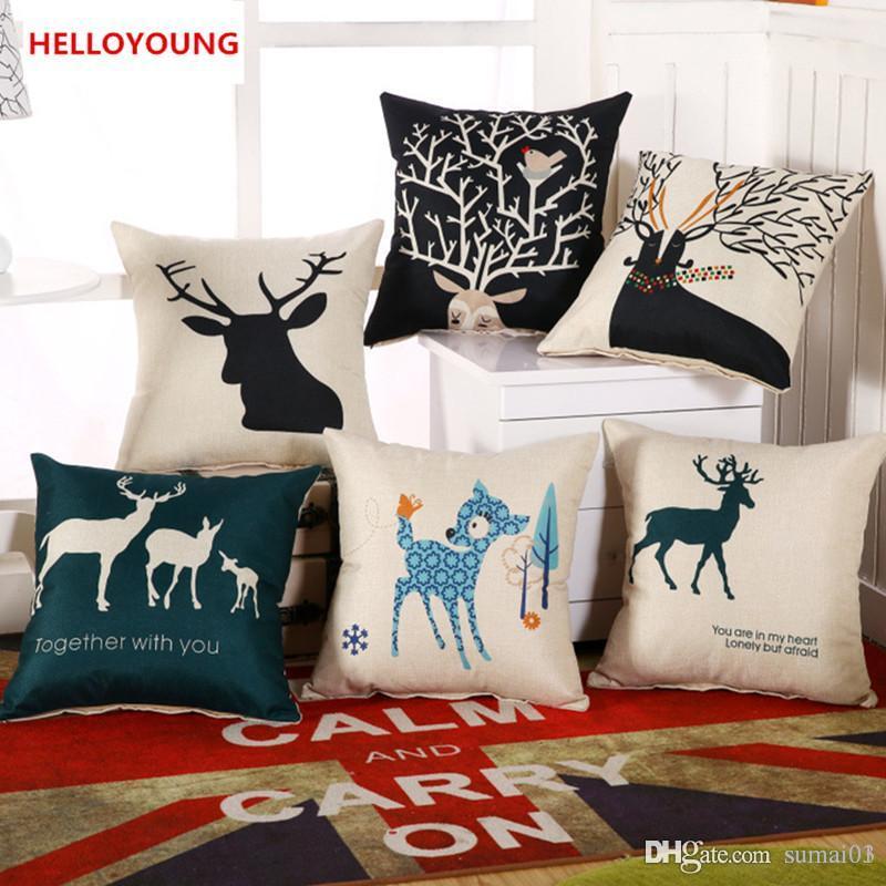 Bz059 Luxury Cushion Cover Pillow Case Home Textiles Supplies Lumbar Pillow  Deer Head Decorative Throw Pillows Chair Seat Outdoor Patio Cushion Covers  ...
