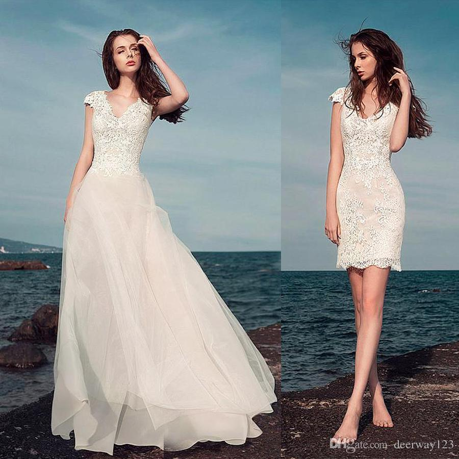 Marvelous Lace V Neck 2 In 1 Wedding Dresses With Lace Appliques ...