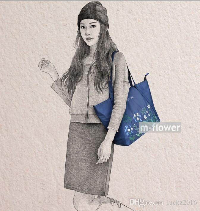 Fresh Little Flowers Stitchwork Literary Style Oxford Women's Single Shoulder Cross Body Bag Female Daily Casual Shopping Beach Bag