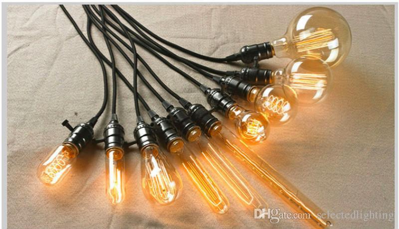 40W 레트로 램프 에디슨의 전구 ST64 G80 G95 빈티지 소켓 DIY 로프 펜던트 E27 백열 전구 220V 110V 휴일 조명 필라멘트 램프 Lampada
