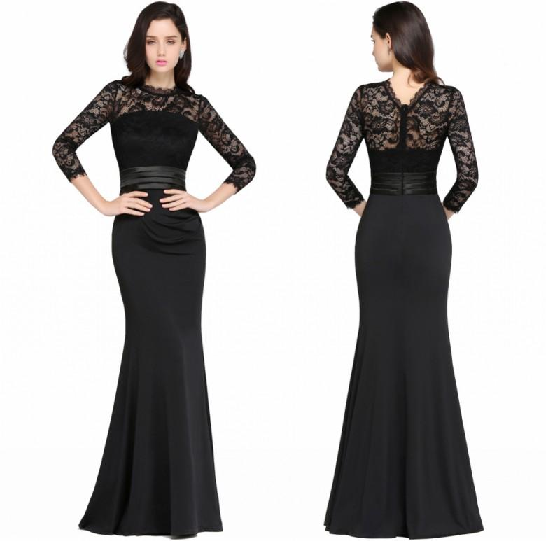 Cheap Black Mermaid Long Mother Dresses 2017 Satin Lace O Neck ...