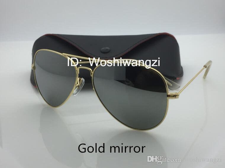 Brand Designer Sunglasses Classic Pilot Style Driving Coating Sunglasses UV Protection Metal Frame Flash Mirror Glass Lenses 62mm