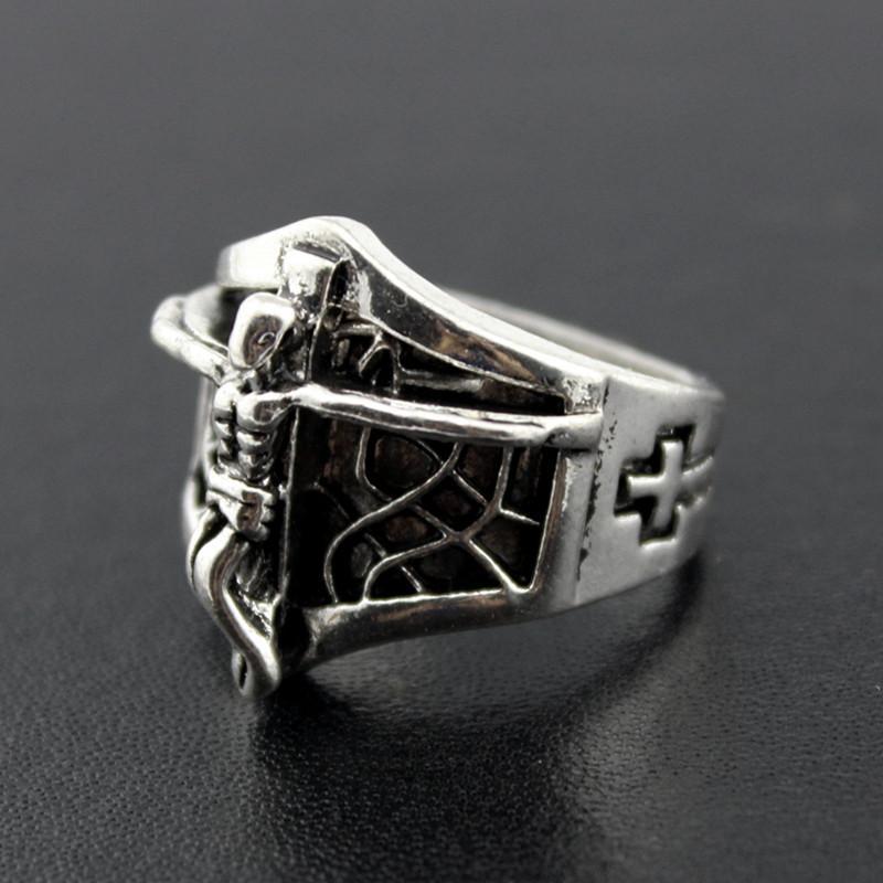 뜨거운 판매 고딕 해골 새겨진 된 빅 바이 커 링 남자 안티 실버 복고풍 펑크 반지에 대 한 남자의 패션 쥬얼리 도매 대량