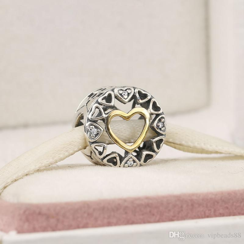 925 Sterling Silver Jewelry Loving Circles Charms Beads For DIY Light Yellow Gold Color Love Heart Charm Bracelets